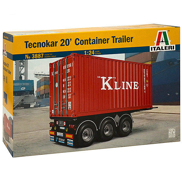 ITALERI Tecnokar 20' Container Trailer 3887 1:24 Military Model Kit
