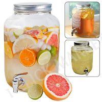 2 Gallon Glass Jar Dispenser Drink Cocktails Lemonade Beverage Tea Mason Pitcher