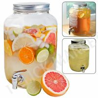 Glass Jar Dispenser 1 Gallon Drink Cocktails Lemonade Beverage Tea Mason Pitcher