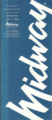 Ambitious Midway Airlines System Timetable 7/1/98 buy 4+ Save 50% 5112