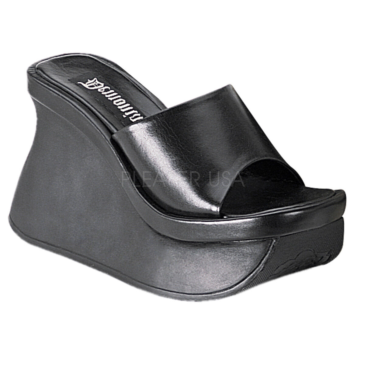 DEMONIA PAC01 B PU Women's Black Gothic Platform Wedge Sandals 4 1 2  High Heels