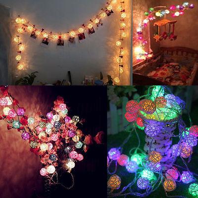 20 LED Rattan Ball String Lights Home Garden Fairy Lamp Wedding Party Decor
