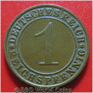 GERMANY-WEIMAR-REPUBLIC-1934-F-1-REICHSPFENNIG-STUTTGART-MINT-GERMAN-WORLD-COIN