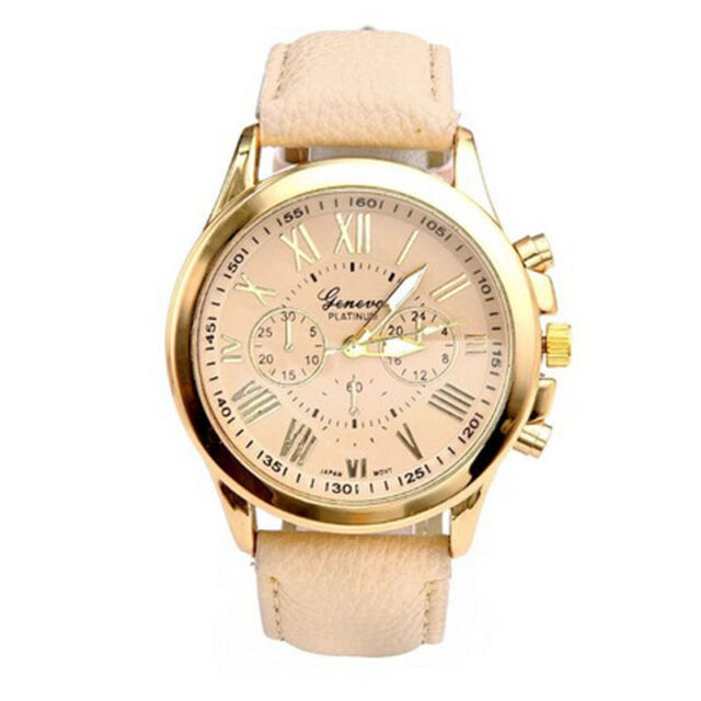 "Women""s Roman Numerals Faux Leather Analog Quartz Watch Beige Nice"