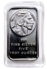 5 Troy Oz .999 Fine Silver Bar American Indian - Buffalo Design  SKU28954