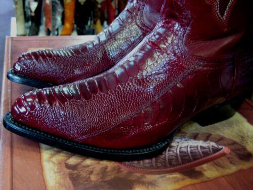 LOS ALTOS MEN BURGUNDY GENUINE OSTRICH LEG WESTERN COWBOY BOOT J-TOE 990506 EE