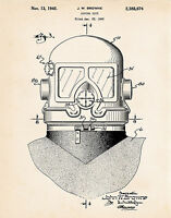 1945 Deep Sea Diving Helmet Nautical Vintage Style Patent Art Print Gifts Divers