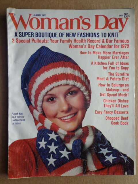 WOMAN'S DAY magazine Jan 1972 RED WHITE & BLUE Hat Gloves to knit-CALENDAR