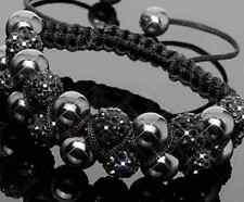 3pcs/lot 10mm Double row new resin pearl black Beads Crystal Shamballa Bracelet