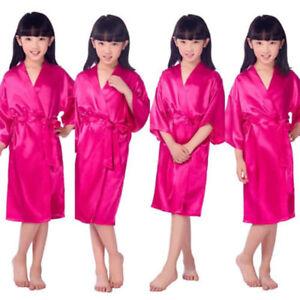 Kid Silk Satin Kimono Robes Bathrobe Sleepwear Wedding Flower Girls Night Dress
