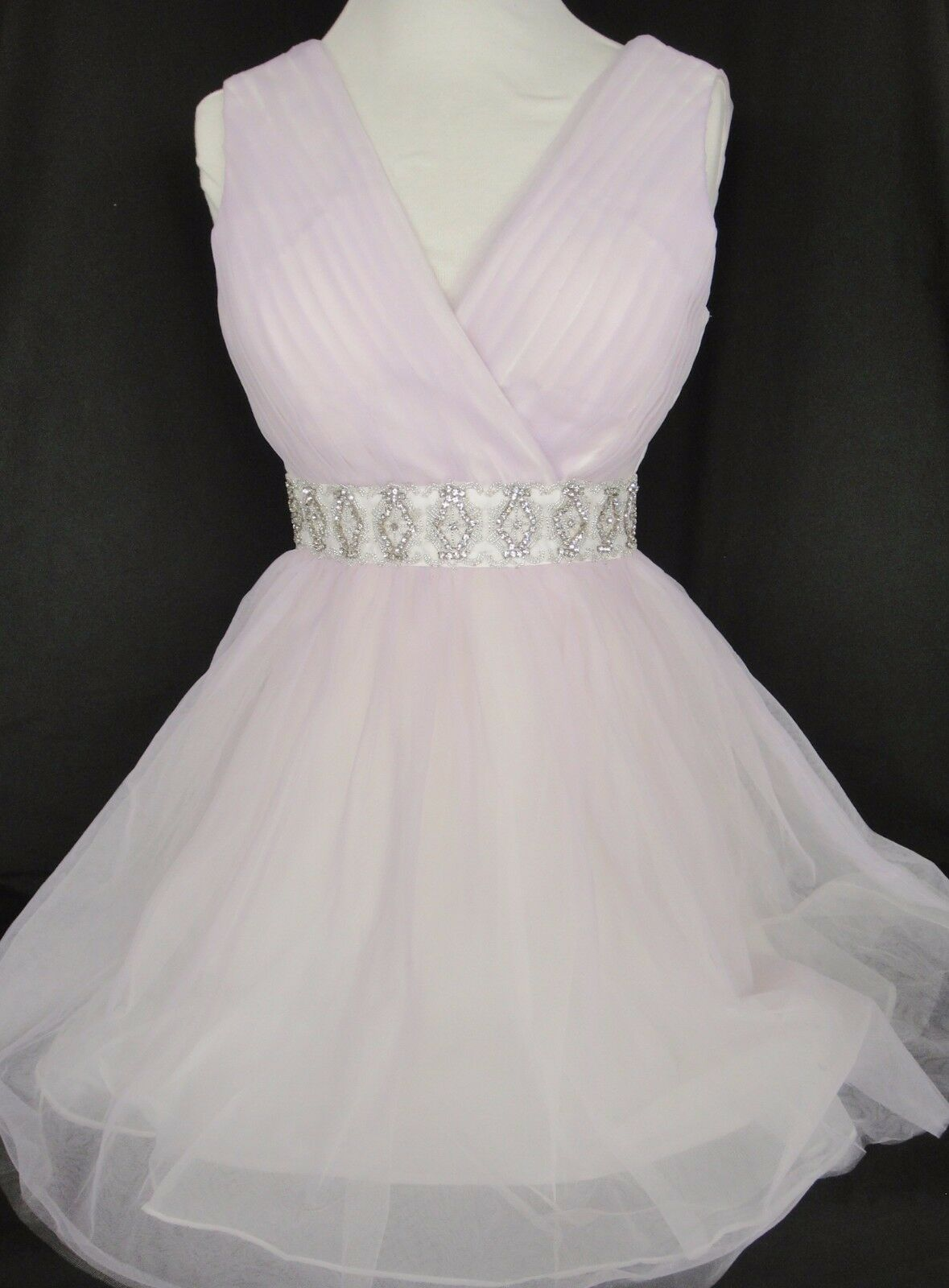 Minuet Short Dress Prom Special Occasion Lavender Tulle Beaded Rhinestone Waist