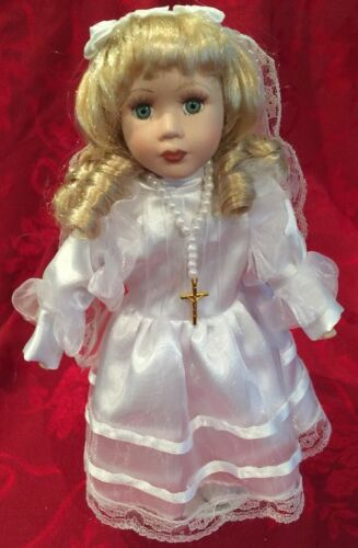 "Porcelain FIRST COMMUNION 12"" DOLL, Blonde New! Communion Religious Gift"
