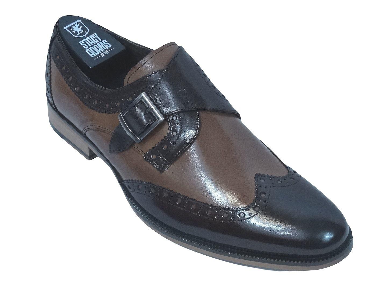 Men's Stacy Adams Dress shoes STRATFORD 24973 Brown Tan  Monk Strap Wing Tip