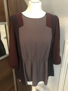 Autograph-M-amp-S-Ladies-Grey-Burgundy-Purple-Peplum-Blouse-Size-14