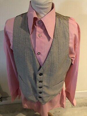Compiacente Vintage Anni'70 Beige Gessato Vestito Mod Dandy Dapper Gilet Vest Medium-mostra Il Titolo Originale