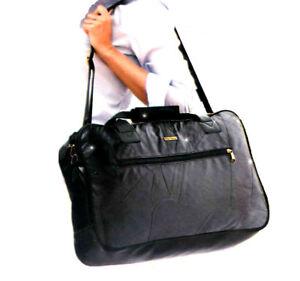 Damen-Reisetasche-Leder-Sporttasche-schwarz-Urlaubstasche-Reisegepaeck
