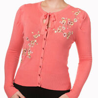 Banned Womens Floral Fine Knit 50s Retro Rockabilly 50s Cardigan Coral Pink