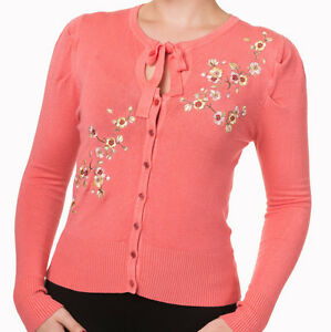 Floral Banned Corail Rose Fine Cardigan 50s Femmes Rockabilly Rétro Maille 1PdAqwWP