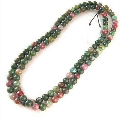 """Delicate 108 6mm Natural Indian Jade Buddhism Prayer Beads Mala Necklace -25"""""""