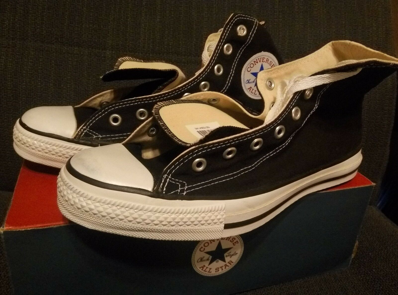 CONVERSE SNEAKERS BLACK NEW WITH BOX SIZE 10 DEAD STOCK MADE IN USA ALL STAR