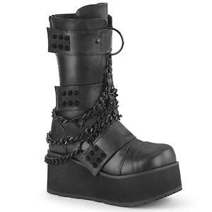 Demonia TRASHVILLE-138 Black Platform Boots Chains Studs Goth Cyber Festival