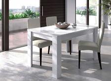 Mesa de comedor o salón rectangular extensible color blanco brillo