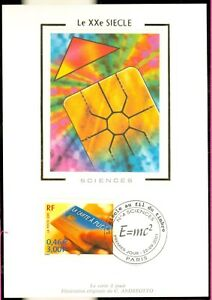 FRANCE-CARTE-MAXIMUM-XXe-SIECLE-CARTE-A-PUCE-SCIENCES-2001-1er-JOUR-LOT-274