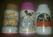Lot Of 3 Lunchbox Thermos Vintage Disney - mickey minnie mouse BATMAN Lazer tag