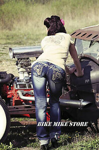 Rockabilly Women's Jeans Rusty Style Pistons Juno xvAEWwIz
