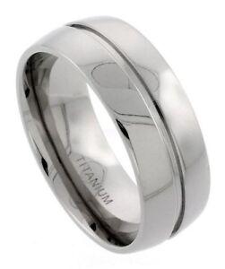 Men-039-s-Comfort-Fit-Titanium-Size-10-Wedding-Band-9mm-Center-Groove-Design-C20