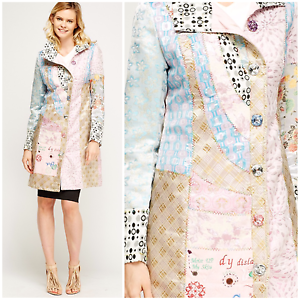 efecef97cb65 Image is loading Women-Pastel-Multi-Trench-Patchwork-Button-Collar-Jacket-