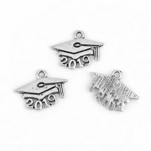 2019 Graduation Cap Mortarboard 19mm Silver Plated Charms C7116-5 10 Or 20PCs