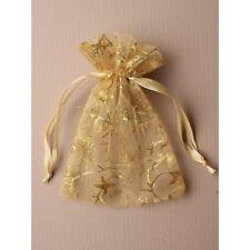 NEW 12 Gold glitter print organza drawstring favour bags wedding party 15x11cm