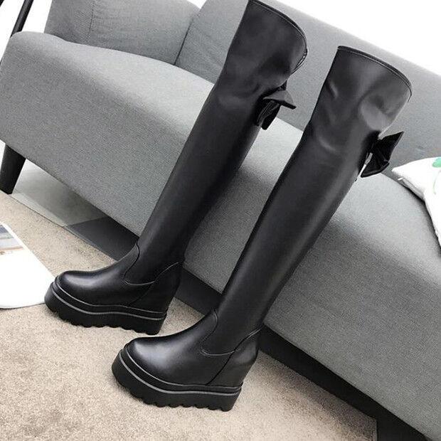 botas Negro Suave Rodilla Muslo 11cm Stiletto Alto 9593