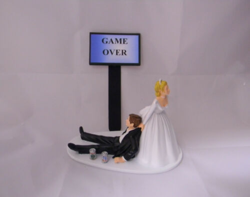 Wedding  Reception Party Game Over Beer Cans Geek Nerd Drunk Groom Cake Topper