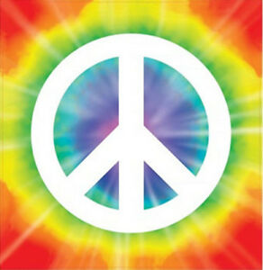 Details about TIE DYE PEACE SIGN 1 large wall sticker 11 5 square inches  dorm bedroom groovy