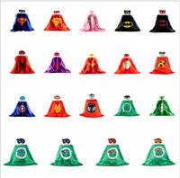 SuperHero Satin Cape Felt Mask Costume Fancy Dress Up Play Party FUN Kids