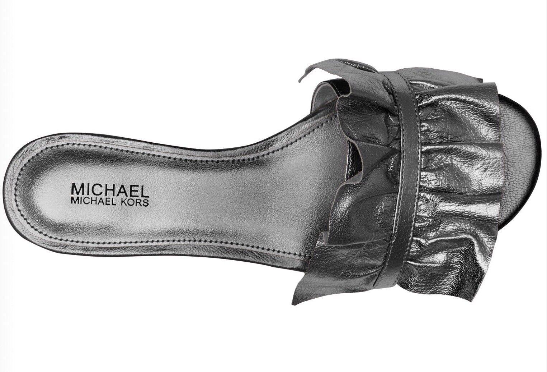 aa85cfcc1bdc Size 7 Michael Kors Leather Bella Slide Ruffles Silver Gunmetal ...