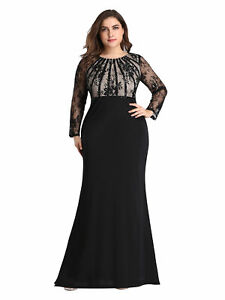 Ever-pretty US Plus Size Long Sleeve Formal Evening Gowns Mother Of Bride Dress