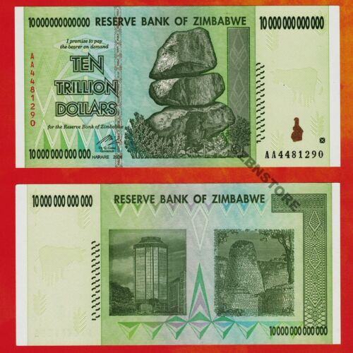 10 Trillion Zimbabwe Dollars Banknote AA 2008 Series Authentic UNC Uncirculated