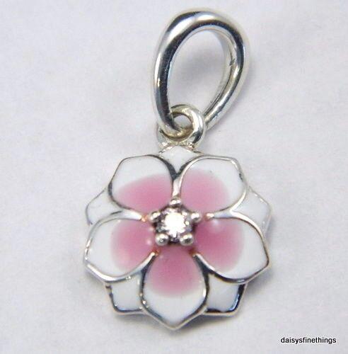 200fd3d0f Authentic PANDORA Magnolia Bloom Dangle Charm Pink Enamel and CZ 792086PCZ  for sale online | eBay