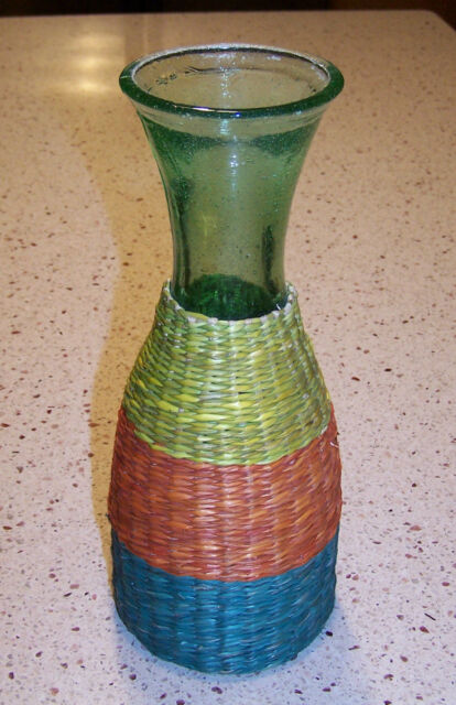 Pier 1 One Imports Green Glass Vase Wrapped In Multi Color Straw
