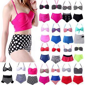 womens retro 50s pinup vintage high waisted bikini top