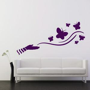 Wandtattoo-Hand-amp-Schmetterlinge-Aufkleber-Wall-Wand-Tattoo-2033