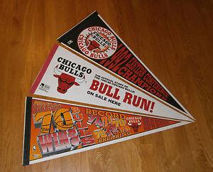 3-1992-95-96-Chicago-Bulls-NBA-Champs-pennants-lot-Michael-Jordan-Era-70-Wins