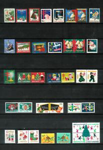 U-S-CHRISTMAS-SEALS-70-Diff-MINT-F-VF-1930-1974-X-9-Lots-All-Scott-Listed