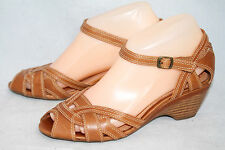 CLARKS ARTISAN 85314 Revel HOP Wo's 6M Tan Leather Wedge Ankle Strap Sandals