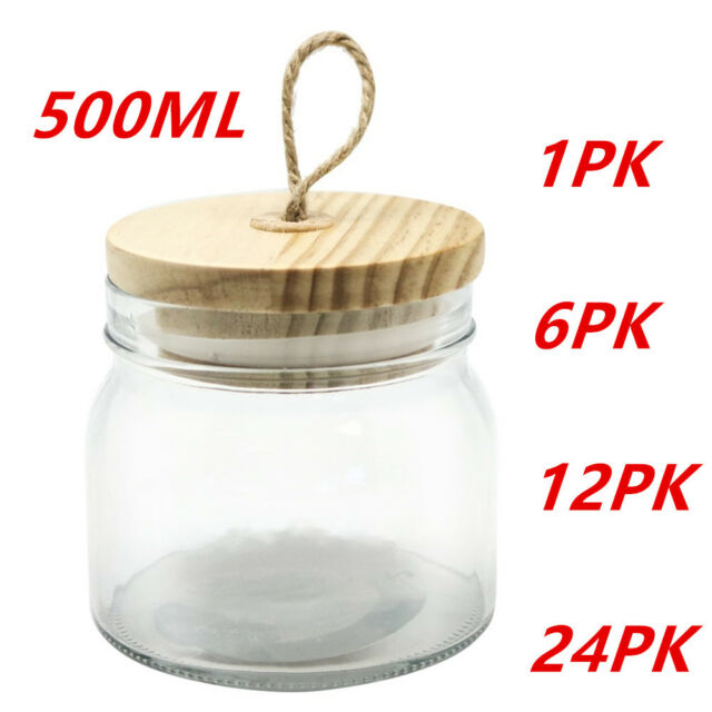 500ml Glass Jars Multi-purpose Storage Jar Wooden Airtight Lid Canister WMCV