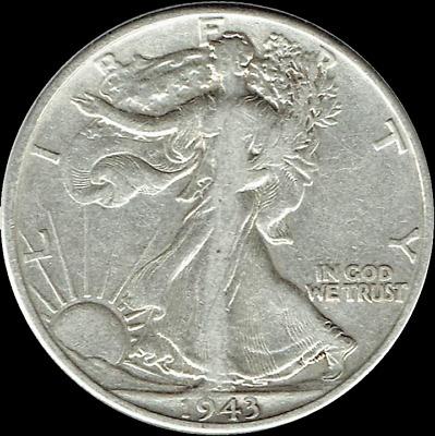 AV Circulated Condition...FREE SHIPPING... 1943-P  Walking Liberty Half Dollar