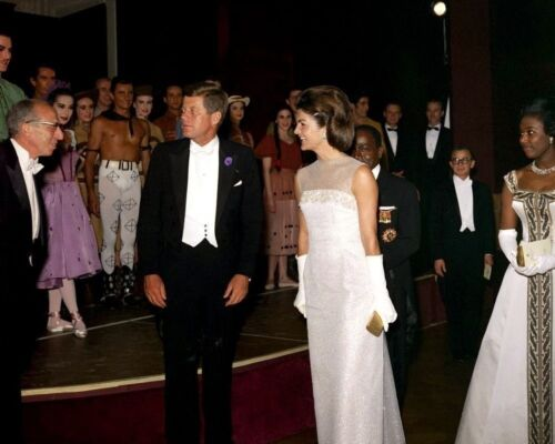 President John F Kennedy and Jackie greets ballet performers New 8x10 Photo